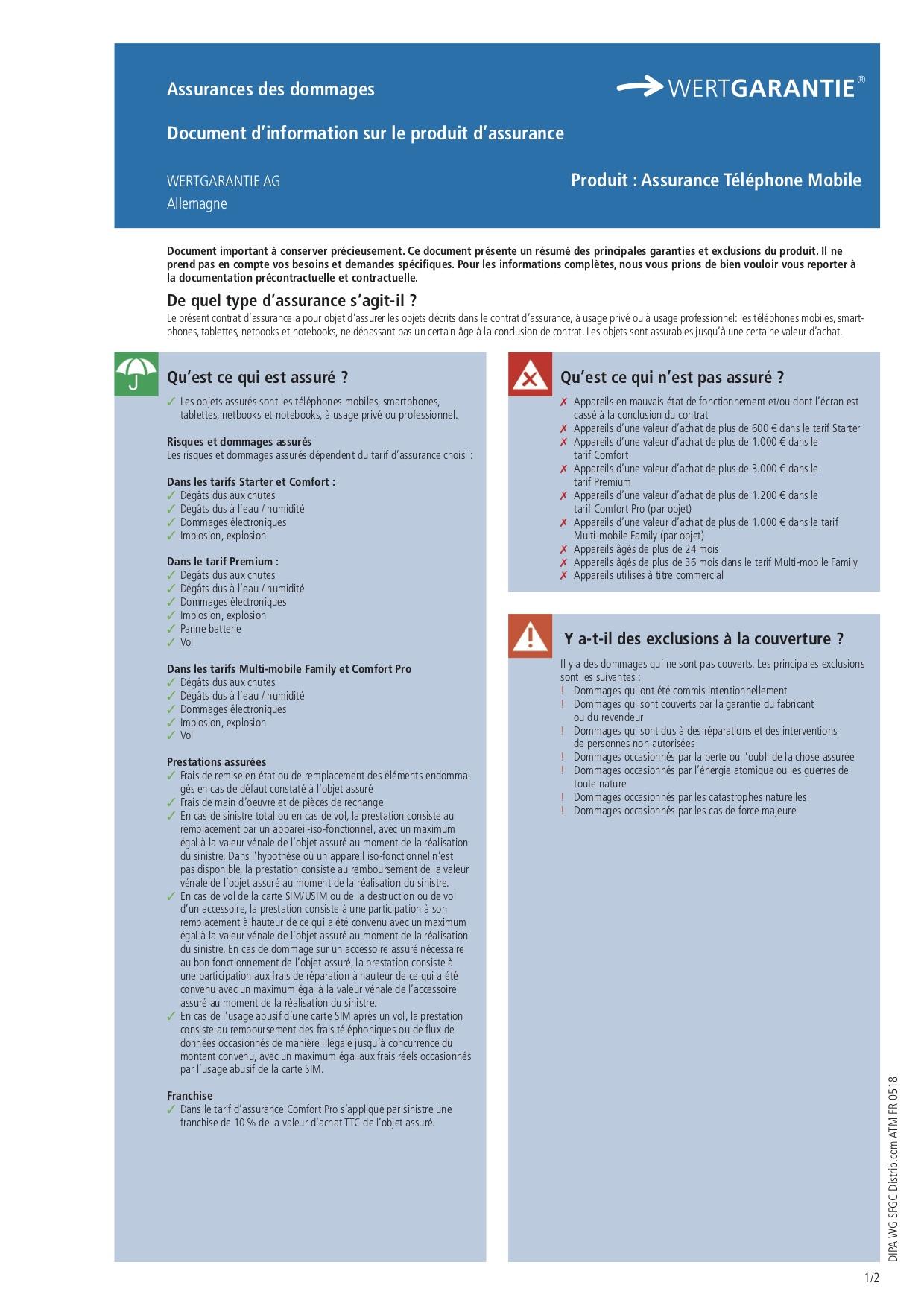 Souscription Pack Mobilite Formule Comfort Vol Assurance
